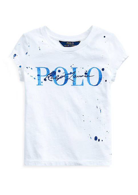 Ralph Lauren Childrenswear Girls 4-6x Paint-Splatter Cotton Tee