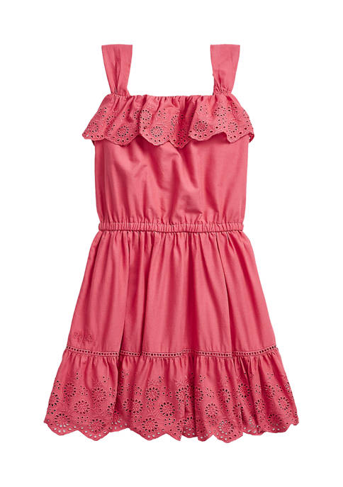 Ralph Lauren Childrenswear Girls 4-6x Eyelet Ruffled Cotton