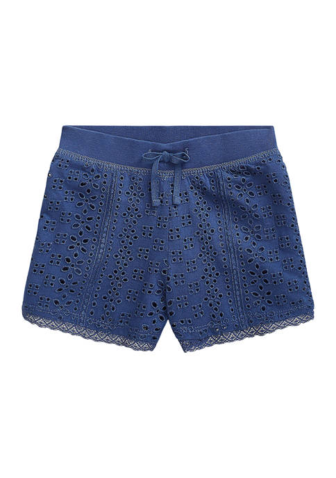 Girls 4-6x Embroidered Cotton Jersey Shorts
