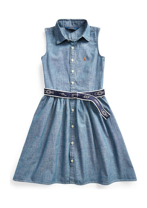 Ralph Lauren Childrenswear Girls 4-6x Belted Chambray Shirtdress
