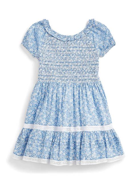 Ralph Lauren Childrenswear Girls 4-6x Floral Smocked Cotton