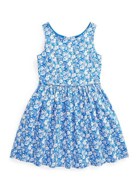 Girls 4-6x Floral Cotton Poplin Dress