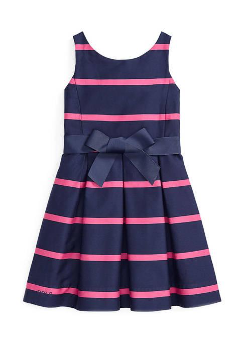 Girls 4-6x Striped Cotton Sateen Dress