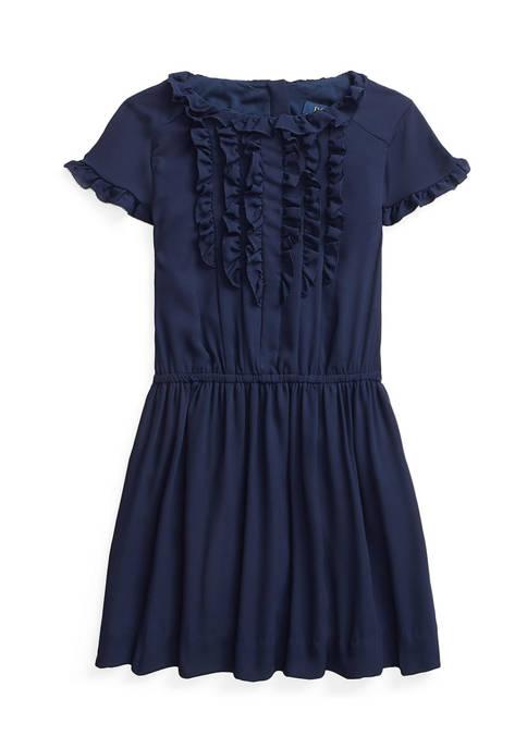 Girls 4-6x Ruffled Crepe Dress