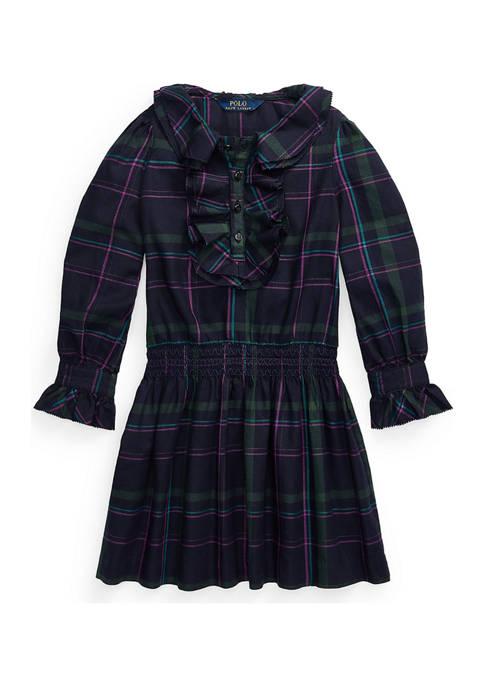 Girls 4-6x Ruffle Trim Plaid Twill Dress