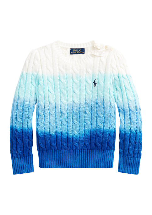 Ralph Lauren Childrenswear Girls 4-6x Dip-Dyed Cable-Knit Cotton