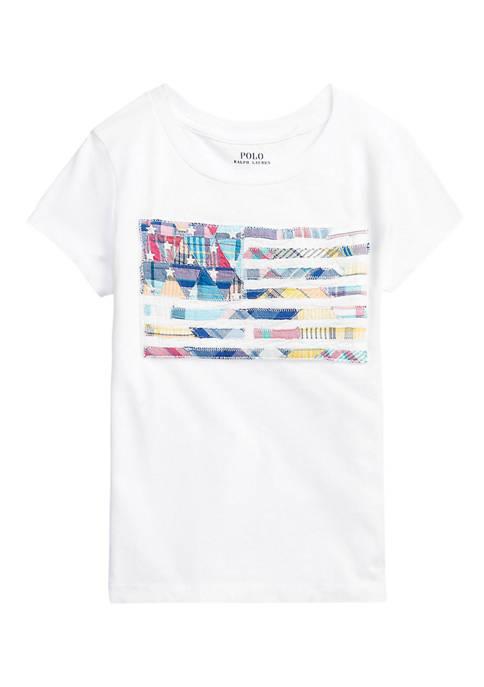Ralph Lauren Childrenswear Girls 4-6x Madras-Flag Cotton Jersey