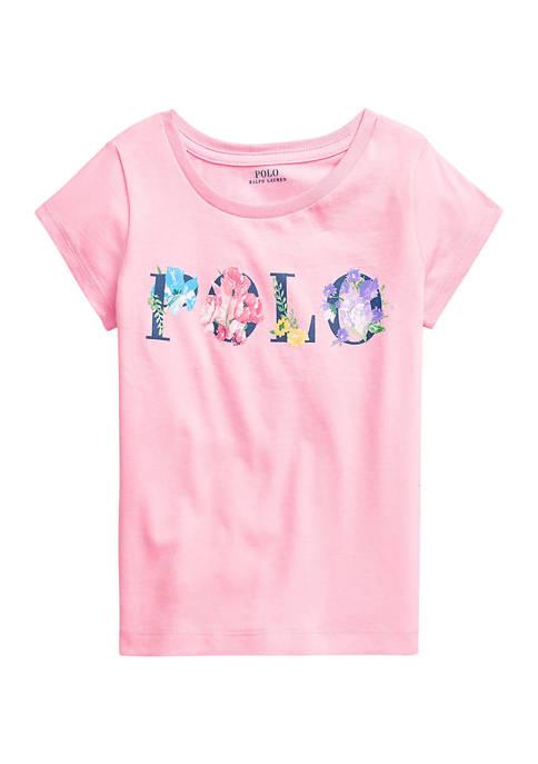 Ralph Lauren Childrenswear Girls 4-6x Floral-Logo Cotton Jersey