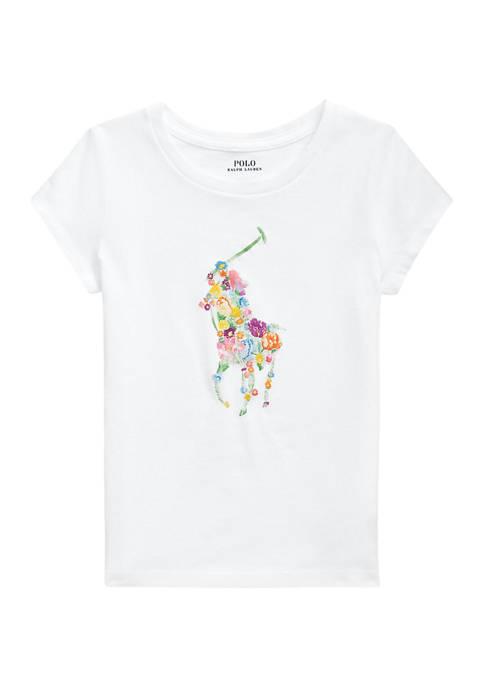 Ralph Lauren Childrenswear Girls 4-6x Floral-Pony Cotton Jersey