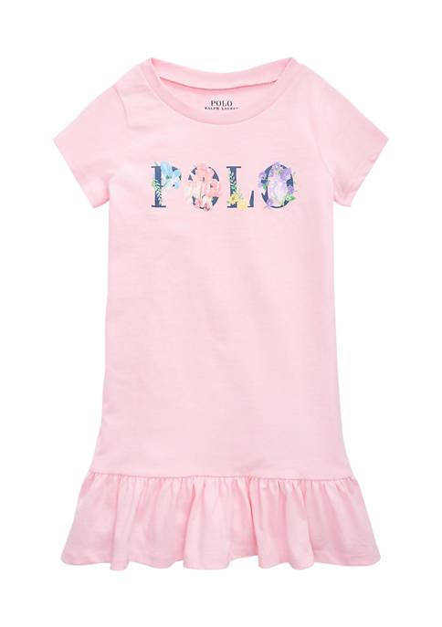 Girls 4-6x Floral-Logo Cotton Jersey Tee Dress