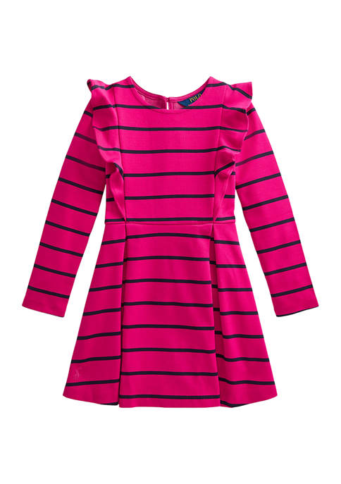 Girls 4-6x Striped Ruffled Ponte Dress