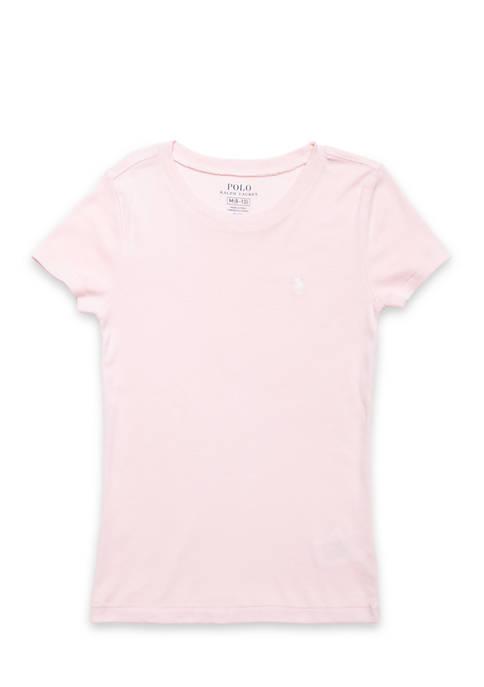 Cotton-Blend Crewneck T-Shirt Girls 7-16