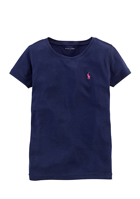 Ralph Lauren Childrenswear Cotton-Blend Crewneck T-Shirt Girls
