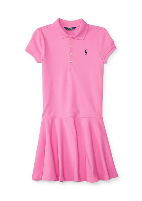 Drop-Waist Stretch Polo Dress Girls 7-16