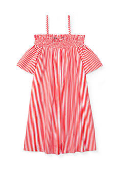 Ralph Lauren Childrenswear Striped Off-the-Shoulder Dress Girls 7-16
