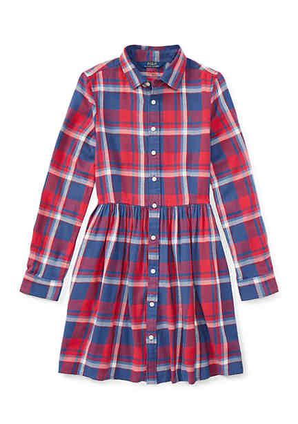 Ralph Lauren Childrenswear Plaid Cotton Twill Shirtdress Girls 7-16 ...