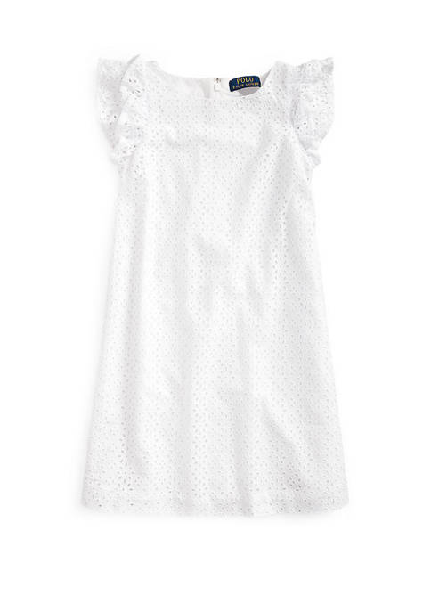 Girls 7-16 Eyelet Embroidered Cotton Dress