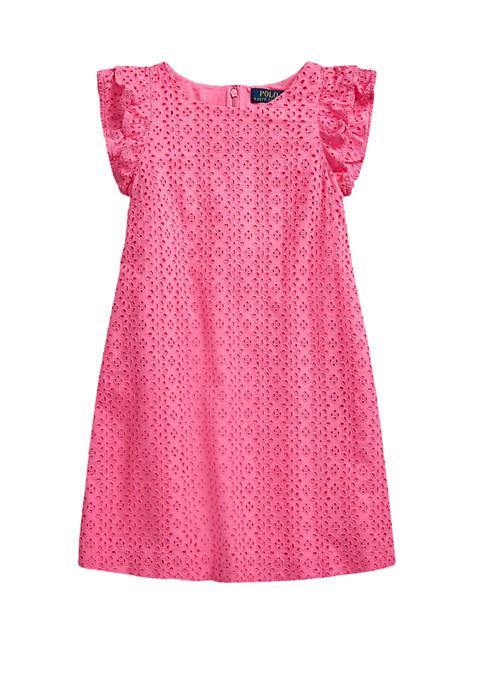 Girls 7-16 Eyelet-Embroidered Cotton Dress