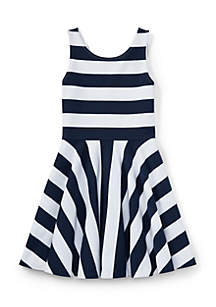 Ralph Lauren Childrenswear Striped Ponte Sleeveless Dress Girls 7-16