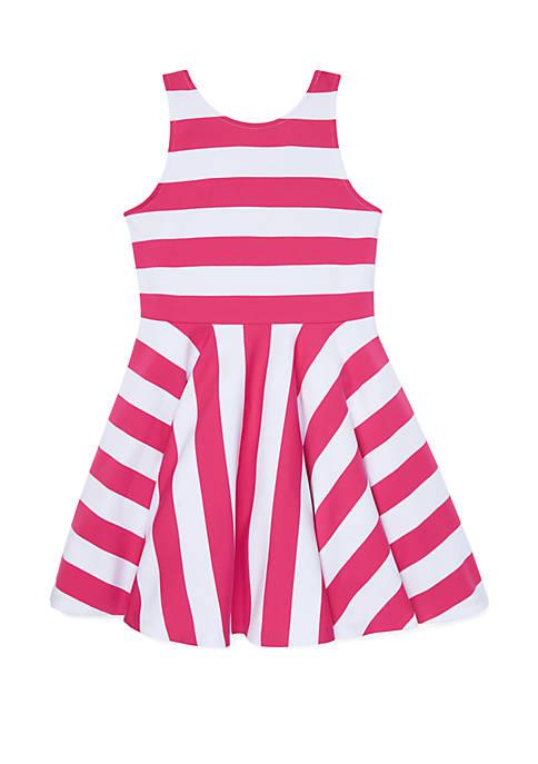 Girls 7-16 Striped Ponte Sleeveless Dress