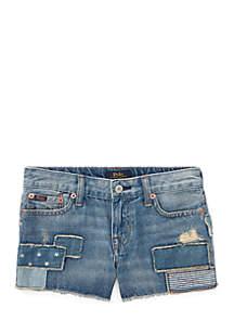 Girls 7-16 Patchwork Cotton Denim Shorts