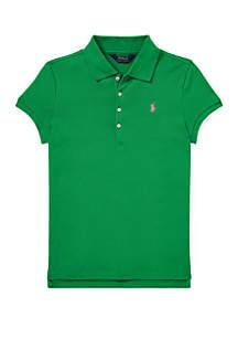 Girls 7-16 Stretch Piqué Polo Shirt