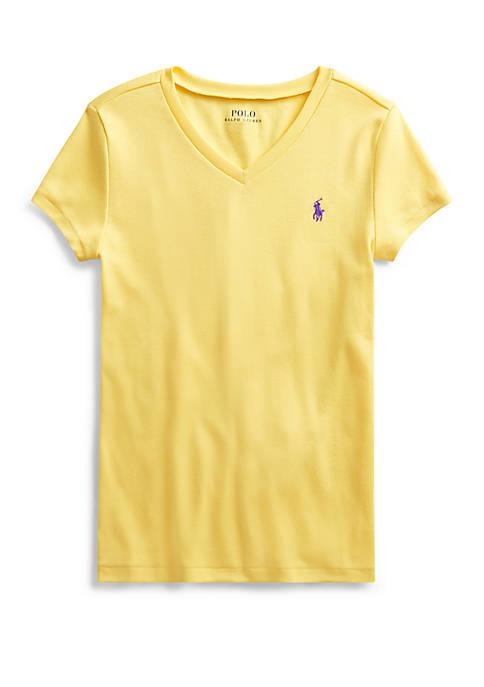 Ralph Lauren Childrenswear Girls 7-16 Cotton Modal V-Neck