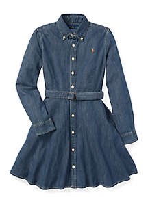 Girls 7-16 Belted Cotton Denim Shirtdress
