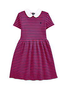 Ralph Lauren Childrenswear Girls 7-16 Striped Ribbed Ottoman Dress