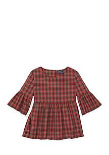 Girls 7 - 16 Tartan Bell-Sleeve Top