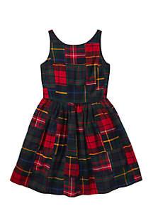 Girls 7-16 Tartan Patchwork Cotton Dress