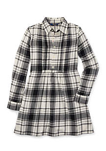 Girls 7-16 Plaid Cotton Twill Shirtdress