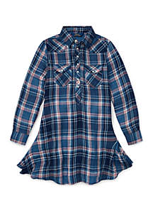 Girls 7-16 Western Plaid Shirtdress