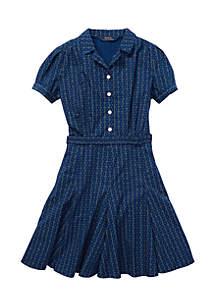 Girls 7-16 Print Cotton Poplin Dress