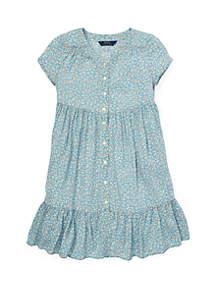 Girls 7-16 Shirred Floral Dress