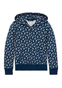 Girls 7-16 Floral-Print Cotton Hoodie