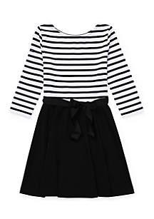 Girls 7 - 16 Striped Jersey-Ponte Dress