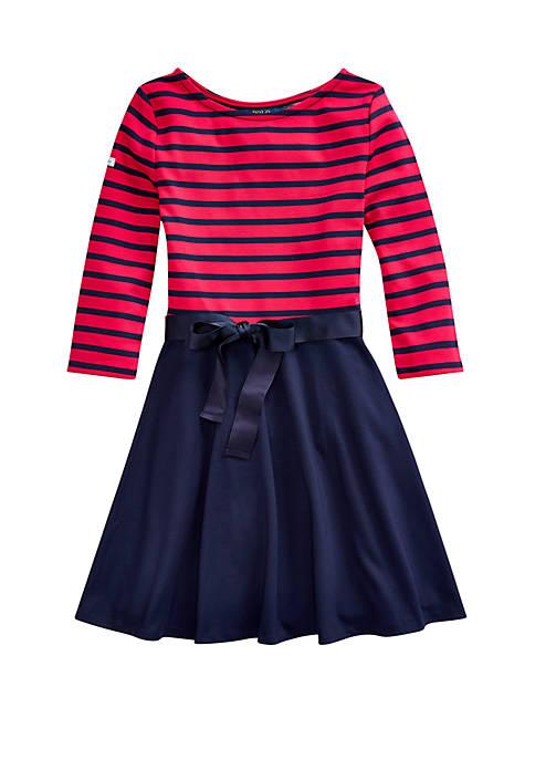 Girls 7-16 Striped Ponte Dress
