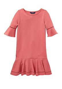 Girls 7-16 Ponte Inset-Lace Dress