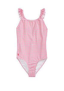 Ralph Lauren Childrenswear Girls 7-16 Gingham One Piece Swimsuit