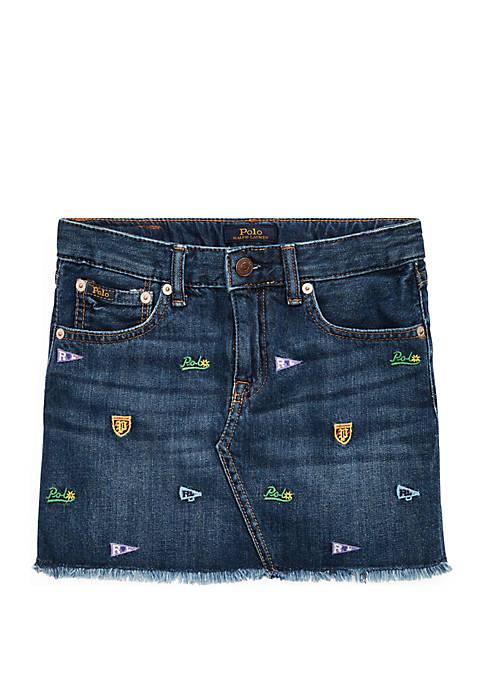 Girls 7-16 Schiffli Denim Skirt