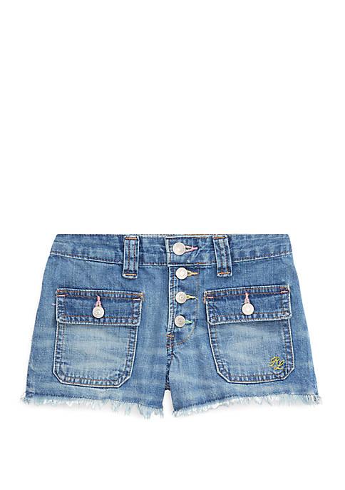 Ralph Lauren Childrenswear Girls 7-16 Frayed Denim Shorts