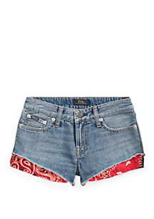 Ralph Lauren Childrenswear Girls 7-16 Bandanna Trim Denim Shorts