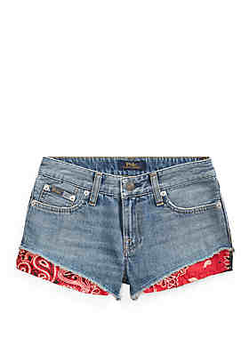6b141baaf Ralph Lauren Childrenswear Girls 7-16 Bandanna Trim Denim Shorts ...