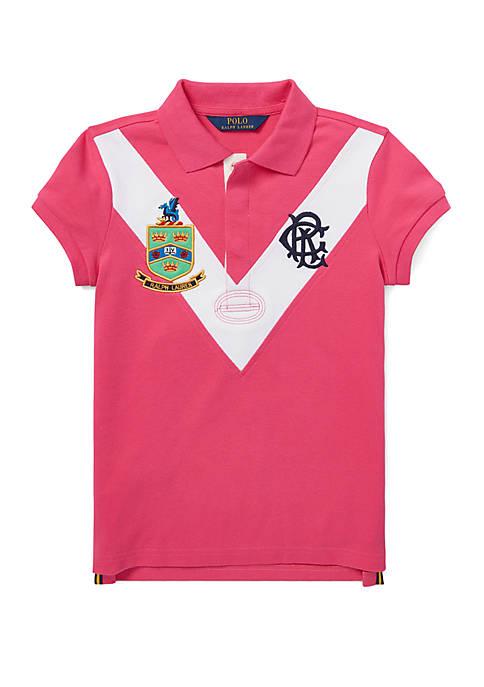 Girls 7-16 Stretch Mesh Polo Shirt
