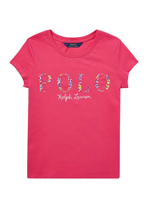 Ralph Lauren Childrenswear Girls 7-16 Floral Polo Jersey