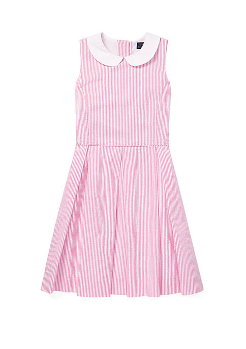 Girls 7-16 Seersucker Fit and Flare Dress