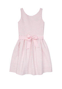 Ralph Lauren Childrenswear Girls 7-16 Striped Fit and Flare Dress