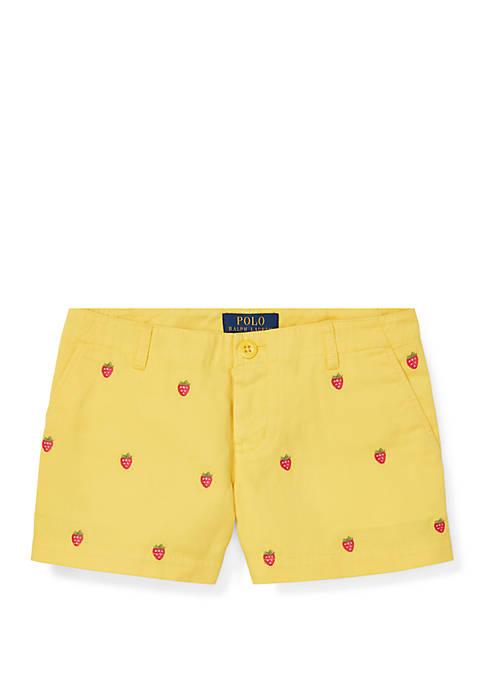 Girls 7-16 Embroidered Chino Shorts