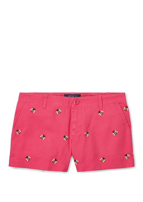 Ralph Lauren Childrenswear Girls 7-16 Embroidered Chino Shorts
